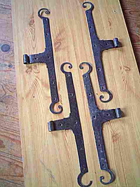 2 paires de pentures ou charni res de meubles anciens en. Black Bedroom Furniture Sets. Home Design Ideas