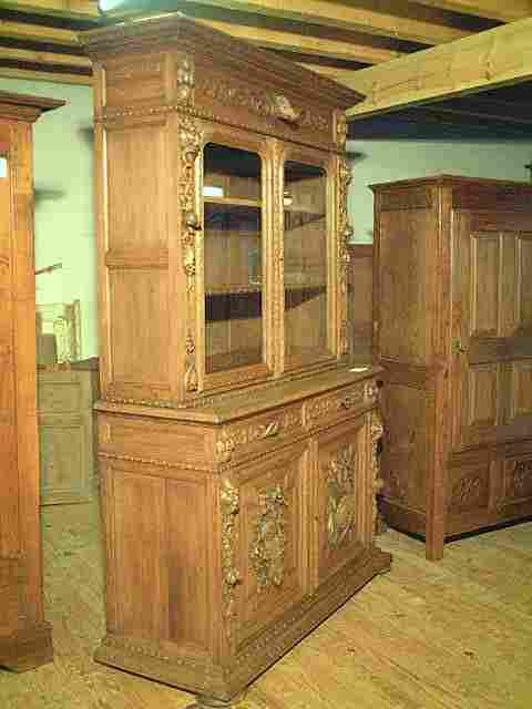 biblioth que vitr e 2 corps en ch ne scult e antiquites. Black Bedroom Furniture Sets. Home Design Ideas