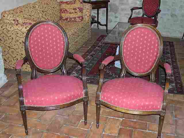 fauteuils cabriolet ancien style louis xvi m daillon second empire antiquites brocante. Black Bedroom Furniture Sets. Home Design Ideas