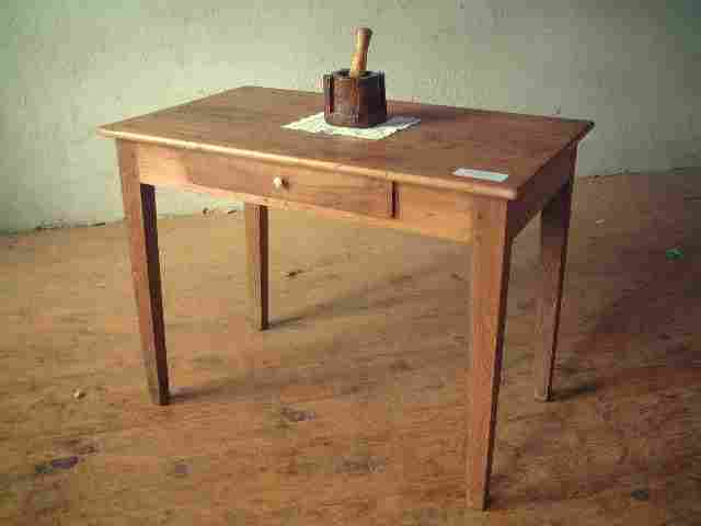 Table bureau ancienne en ch ne et noyer rustique for Table bureau