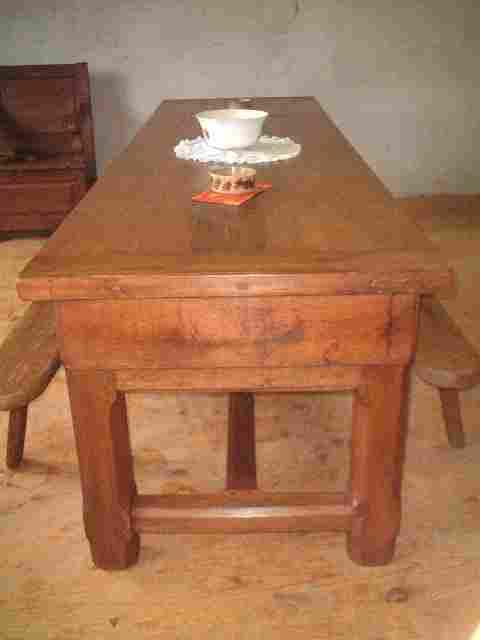 Table de ferme en ch ne et ormeau 5 pieds antiquites for La ferme du meuble
