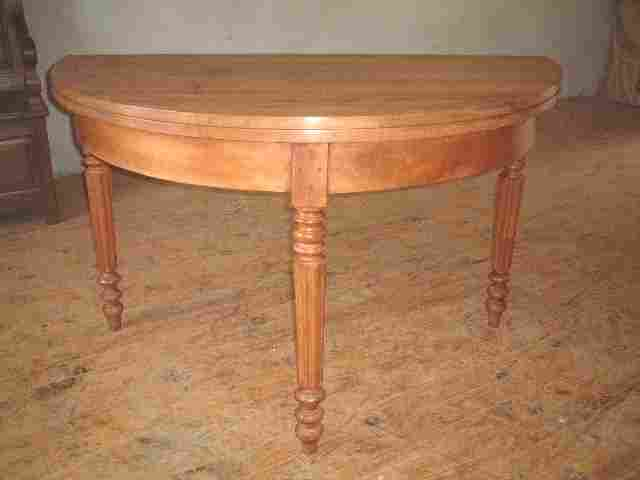 Table demi lune merisier et noyer antiquites brocante de for Table de cuisine demi lune