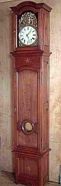 pendule de parquet droite caisse en merisier de fabrication artisanale antiquites brocante. Black Bedroom Furniture Sets. Home Design Ideas