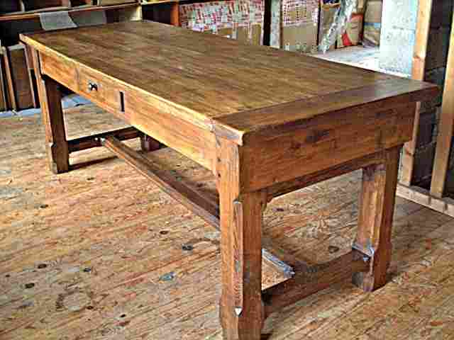 table de ferme rustique campagnarde en ch ne et h tre 3 tiroirs antiquites brocante de la. Black Bedroom Furniture Sets. Home Design Ideas