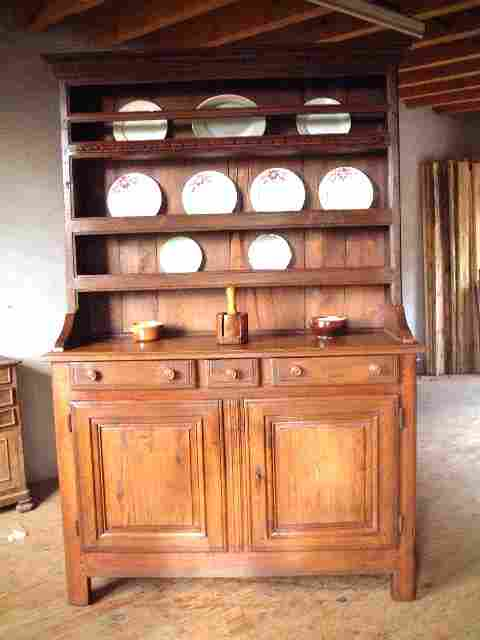 vaisselier ancien rustique 2 corps ch ne ch taignier 3 tiroirs antiquites brocante meubles. Black Bedroom Furniture Sets. Home Design Ideas