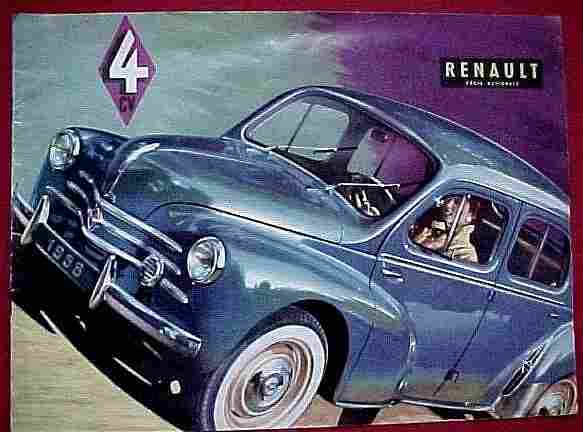 Publicité Automobile, Renault 4 Cv , Documents Automobiles Anciens, V2