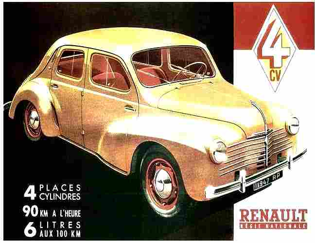 Publicité Automobile, Renault 4 Cv 4 Places 4 Cylindres , Documents Automobiles Anciens, V2
