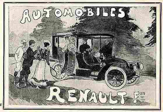 Publicité Automobile, Renault Automobiles A La Belle Epoque , Documents Automobiles Anciens, V2