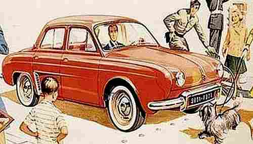 dessin image d 39 automobile renault la dauphine documents automobiles anciens v2. Black Bedroom Furniture Sets. Home Design Ideas