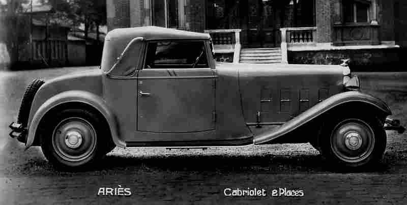 photographie originale aries cabriolet d capotable 2 places documents automobiles anciens v2. Black Bedroom Furniture Sets. Home Design Ideas