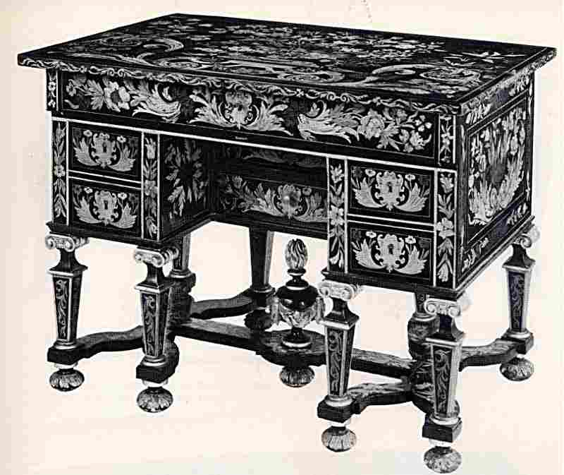 bureau mazarin en marqueterie boulle toutes faces epoque. Black Bedroom Furniture Sets. Home Design Ideas