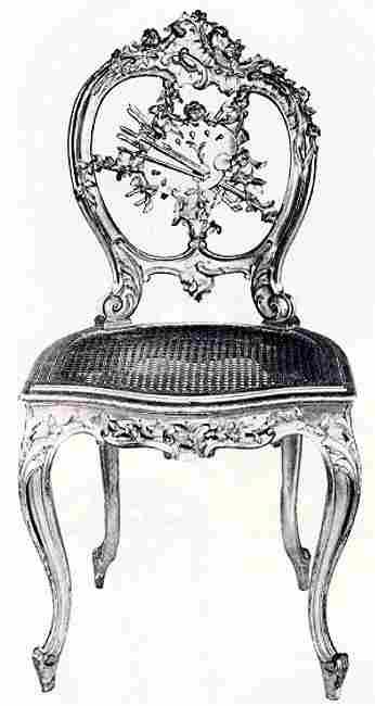 Chaise En Bois Dore Et Sculpte Dossier Ajoure A Decor Dattributs De La Peinture Style Rococo Louis XV XIXe S