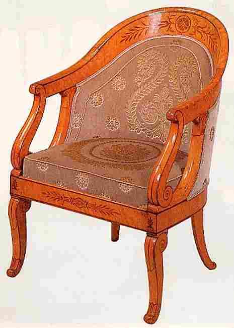 fauteuil de forme gondole en placage drable mouchet rehauss de palissandre epoque charles x